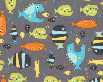 Piranhas Seaweed 100% Cotton from Michael Miller Fabric's Mer-Mates / Guppies for Lunch Collection
