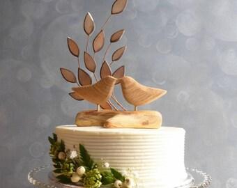 Wooden Bird Wedding Cake Topper, Wooden Cake Topper, Love Bird Cake Topper for Your Rustic Wedding