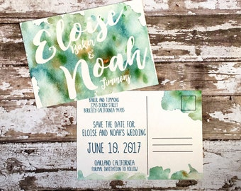 Save the date postcards, set of 10 printed handmade wedding postcards, green watercolor save the dates, simple blue custom wedding invites