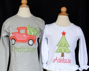 Truck with Christmas Tree Applique Shirt or Bodysuit Boy or Girl