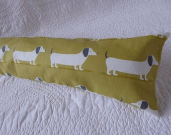 Draught Excluder Handmade 100% Cotton Dachshund Sausage Dog Print Mustard Yellow Grey