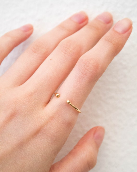 Lena -ring (solid gold or sterling silver 925 double ball open band)