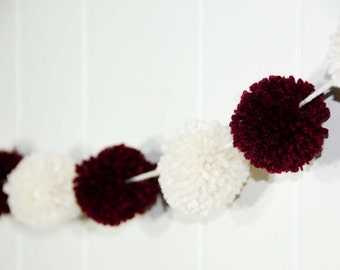 Pom Pom Garland Burgandy and Cream  (13) 2 inch Pom Poms   Pom Banner - Pom Pom Garland -  Party Garland - Nursery Garland Measures 60""