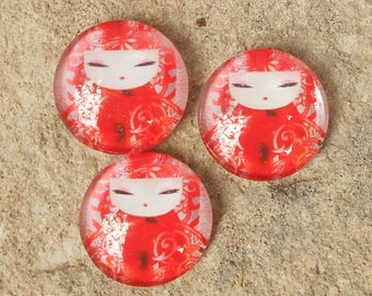 Glass cabochon 18 mm red kimmidoll