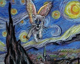 original art aceo card drawing flying cat Starry Starry Night Van Gogh