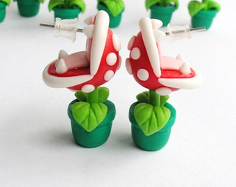 Mario Bros Earrings Stud Piranha Plant Fimo Yoshi Nintendo Red/Green HandMade Polymer Clay 3D Geek Video Game Gift her Woman Hipster Retro