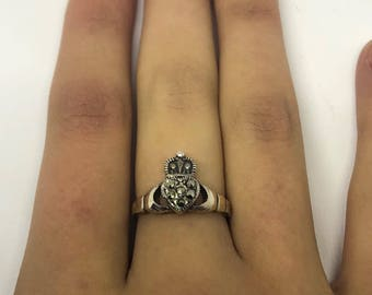 Vintage Huge 1970's 925 Sterling Silver Marcasite Cladaugh Ring