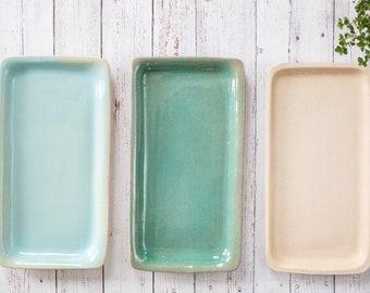 tray, ceramic tray, handmade ceramic tray, green tray, cream trey, blue tray, pottery tray, ceramic serving tray