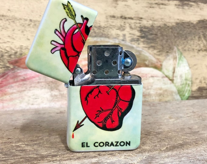El Corazon Loteria lighter Sublimated Retro Cigar Gift for Him Groomsmen Bachelors Fathers Day