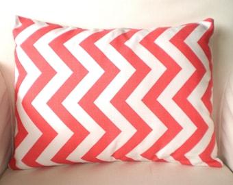 Coral Chevron Lumbar Throw Pillow Cover, Decorative Pillow, Cushion, Coral White Chevron Zig Zag, Pillows for Couch Chair 12 x 16 or 12 x 18