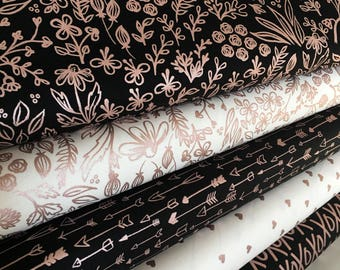 Rose Gold fabric, Modern Nursery fabric, Quilting fabric, Black White decor, Yes Please Bundle of 5- Choose the Cuts