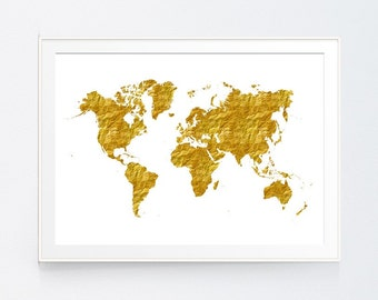 Gold foil world map etsy gold map decor gold wall art gold world map world map print world map poster gold map gold foil world map world map instant download gumiabroncs Gallery