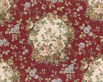 Josephine Rose Cotton Fabric Cameos of Roses on Red by Lecien 30880-30
