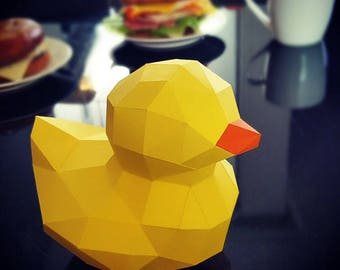 Be The Paper-Duck. not rubber duck. Low poly sculpture PDF for Paper craft.