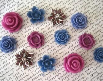 Flower Magnet Set, 12 Magnets, Lilac and Cornflower Blue, Locker Magnets, Fridge Magnets, Hostess Gift, Housewarming Gift, Wedding Favor