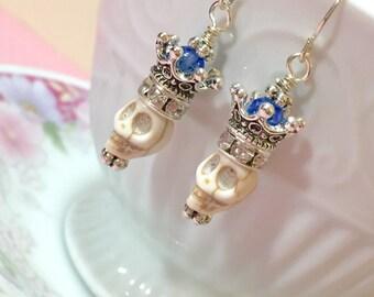 Voodoo Queen Earrings, Skull and Fancy Crown Earrings, Halloween Earrings, Day of the Dead Earrings, Dia de Los Muertos Jewelry (DE2)