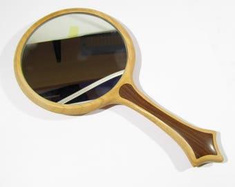 Hand Mirror cherry wood Handmade 5 inch