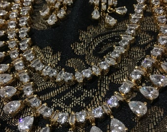 Clearance  Simulated cubic diamond necklace set| indian jewelry| indian necklace set |bridal jewelry| wedding jewelry| drop dangle