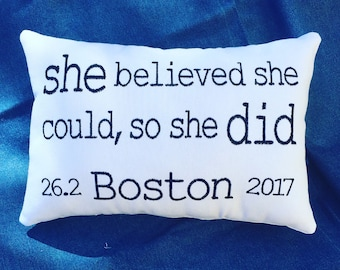 BOSTON Marathon - Embroidered Pillow - Navy