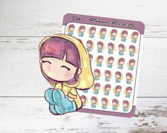 Planner Girl Stickers, Rain, Storm, Bad Weather 034