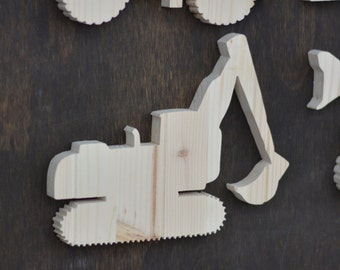 Excavator Construction Wood Cutout