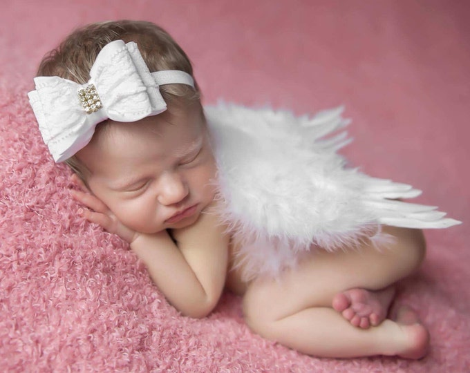 White Feather Angel Wings AND/OR White Lace Bow Headband for newborn photos, bebe foto, prop, photographers, Lil Miss Sweet Pea