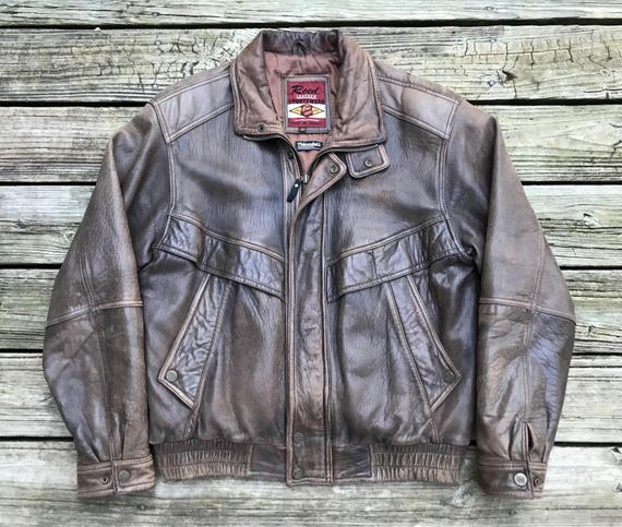 SEA DREAM Thermolite Insulated Brown Leather Biker Motorcycle Jacket Men's XS 2Niu8IG
