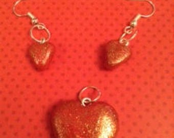 glitter red heart necklace and earring set (with necklace chain)