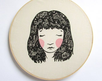 Constellation Hair Linocut Print. 12x12 inch. Embroidery Hoop Art. Sweet Woodcut Print. Space Theme.