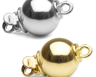 One lovely 14K yellow/white gold ball clasp