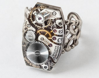 Steampunk Ring Vintage watch movement gears silver filigree clock work Industrial Statement Cocktail adjustable ring Gift Steampunk jewelry