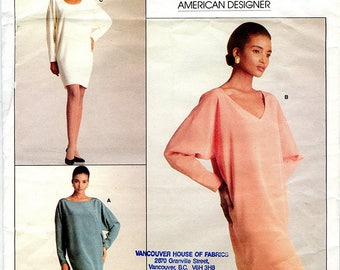 Vintage Vogue 2055 Calvin Klein Loose Fit Long Sleeve Tapered Shift Dress UNCUT Sewing Pattern American Designer Size 6 8 10 Bust 30.5 to 36