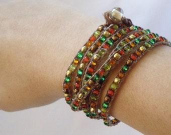 Bracelet, Wrap Bracelet, Beaded - COPPER RIVER (513)