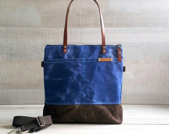 WAXED CANVAS TOTE in Blue and Brown ZiPPERED, Unisex, Laptop Bag, Diaper Bag, Work Bag, School Bag, Leather Straps, Macbook Pro Bag, Tote