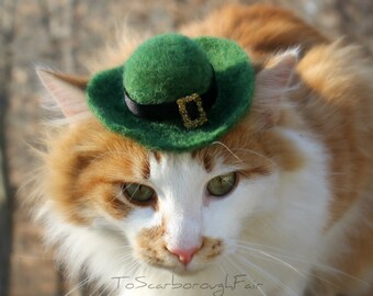 Saint Patrick's Day Pet Hat - Leprechaun Cat Hat -  -Saint Patty's Day - Costumes for Cats Hand Felted Hat - Pet Costume - Cat Photo Prop