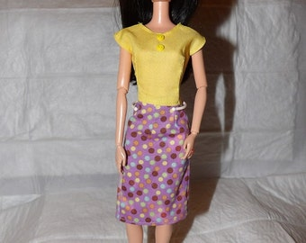 Purple skirt with colorful dot print & yellow low back top for Fashion Dolls - ed978
