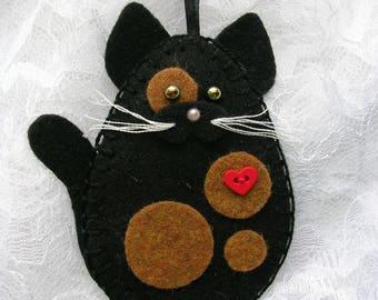 Cat Ornament, Tortoiseshell Cat, Tortie Cat Ornament, Felt Cat Ornament
