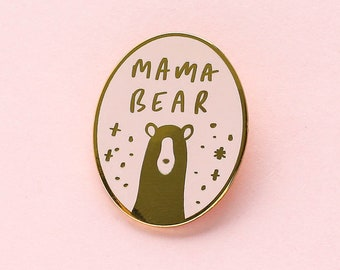 Mama Bear Oval Enamel Pin - Mama Enamel Pin - Enamel Lapel Pin - Fun Enamel Pin - Enamel pins - Gift for Mum - Mum Enamel Pin -