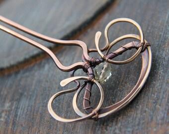 Mixed metal hair fork, hair pin, hair stick, copper, bronze & lemon quartz hair fork, wire wrap hair accessories, antique metal, yellow