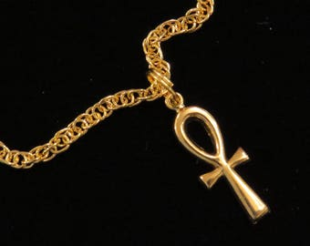 Cleopatra Ankh Egyptian Eternal Cross Anklet Ankle Bracelet 24 Karat Gold Plate AG049