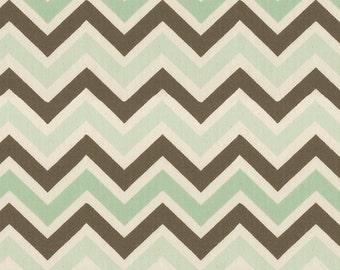 Mocha Mint Chevron Fabric - By The Yard - Boy / Modern / Fabric