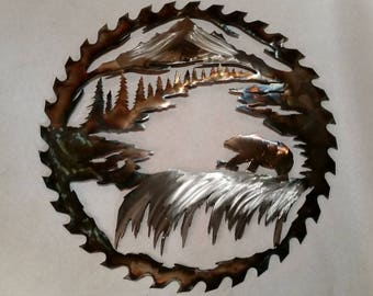 Bear / Waterfall saw blade metal art sculpture