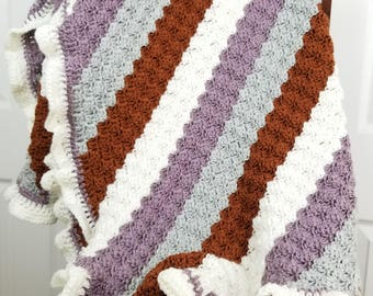 Purple and chocolate brown stripes crochet blanket for babies, toddlers, and small children