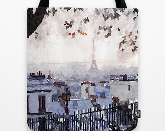 Rainy Day in Paris Watercolor Print Tote Bag. A Grey Rainy Day in Paris makes for one gorgeous watercolor painting. Tote it around with you.