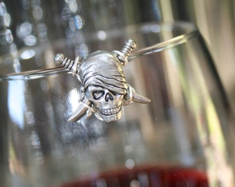 Silver One Eyed Pirate Wine Glass Marker