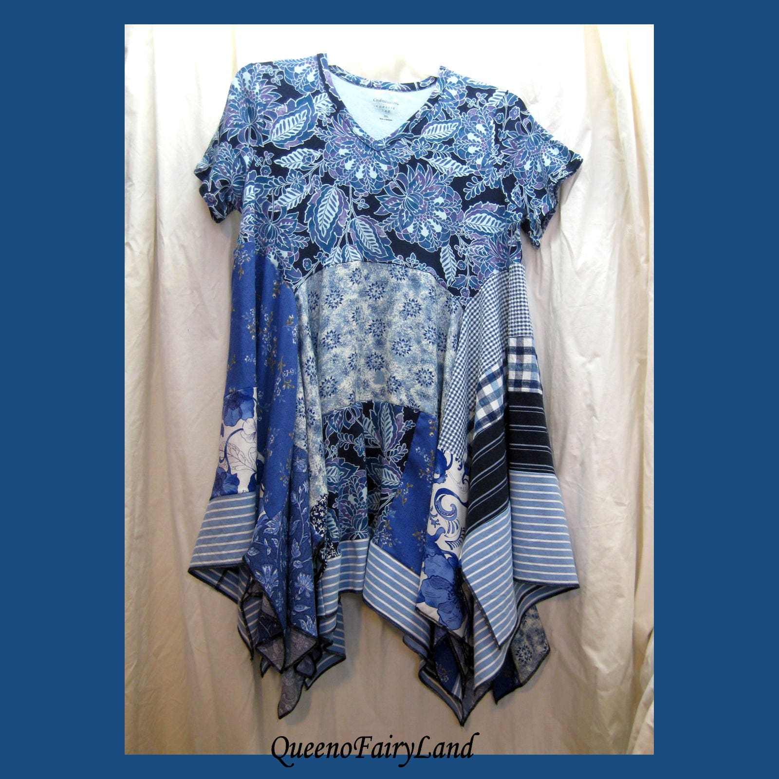 Bohemian Blues Tunic Dress Bust 42 Size XL Re purposed Cotton