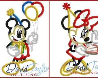 Birthday Minnie AND Mickey 2 design pack - 4x4, 5x7 6x10 in 7 formats - Applique - Instant Download - David Taylor Digitizing