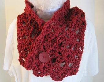 "Crochet cowl with button, burgundy, 33""x8"", burgundy button, chunky acrylic yarn"