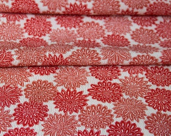 Chrysanthemums in Red // Vintage Kimono Fabric // Last Piece!