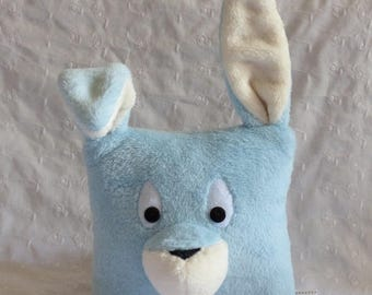 Sky blue and creamy white rabbit Plush Pillow